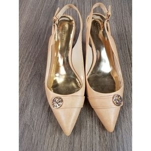 Coach 7.5 back strap pumps in nude